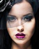 Romaans. Portret van Spectaculaire Gestileerde Vrouw in Retro Zwarte Sluier Royalty-vrije Stock Fotografie