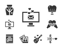 Romaanse daterende zwarte geplaatste pictogrammen Royalty-vrije Stock Foto