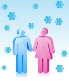 Romaanse het Paar van de winter Royalty-vrije Stock Foto's