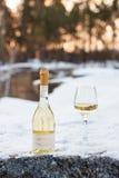 Romaanse liefde, vakantie, het concept van de Nieuwjaarviering Fles en glas witte die wijn door sneeuw in de winterbos wordt geko Royalty-vrije Stock Foto's