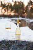 Romaanse liefde, vakantie, het concept van de Nieuwjaarviering Fles en glas witte die wijn door sneeuw in de winterbos wordt geko Stock Foto's