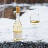 Romaanse liefde, vakantie, het concept van de Nieuwjaarviering Fles en glas witte die wijn door sneeuw in de winterbos wordt geko Stock Foto