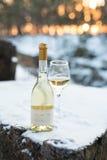 Romaanse liefde, vakantie, het concept van de Nieuwjaarviering Fles en glas witte die wijn door sneeuw in de winterbos wordt geko Royalty-vrije Stock Afbeeldingen
