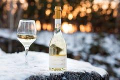 Romaanse liefde, vakantie, het concept van de Nieuwjaarviering Fles en glas witte die wijn door sneeuw in de winterbos wordt geko Stock Afbeeldingen