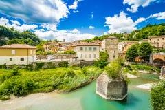 Romagna小山的安静的村庄  免版税库存图片