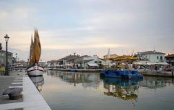 Romagna,意大利,切塞纳蒂科小游艇船坞 库存照片