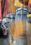 Romagna, Italië, oude schepen van Cesenatico-jachthaven royalty-vrije stock afbeelding
