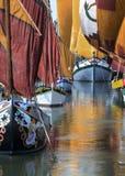 Romagna Italien som är forntida seglar fartyg av den Cesenatico marina royaltyfria bilder