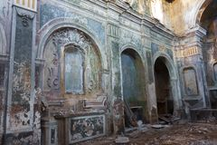 Romagnano al Monte, a ghost town in the province of Salerno in Campania, Italy. Ruin of an old building, ghost town Romagnano al Monte, Italy abandoned stock photography