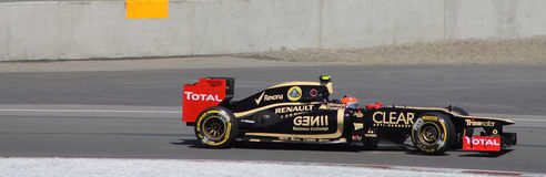 Romain Grosjean gets second place in Montreal. Romin Grosjean 1st podium of the season, is the second step in Montreal on Circuit Gilles Villeneuve Royalty Free Stock Photos