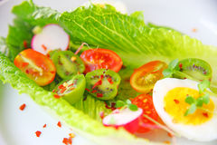 Romaine lettuce with baby kiwis and cherry tomatoes Royalty Free Stock Photography