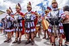 Romains dans le cortège prêté, Antigua, Guatemala Photos libres de droits