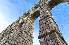 Roman acqueduct in Segovia - Spain. The main landmark of Segovia - Spain Royalty Free Stock Image