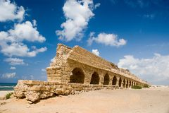 Roman age aquaeduct in Caesarea Stock Image