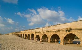 Roman age aquaeductus in Caesarea Royalty Free Stock Photos