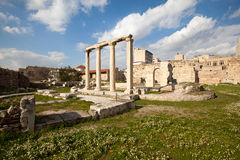 Roman Agora. In Athens. Close to Hadrian's library. View from Acropolis side Stock Images