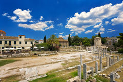Roman Agora in Athene Stock Afbeeldingen