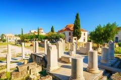 Roman Agora in Athens, Greece. Roman Agora and Byzantine church in Athens, Greece Royalty Free Stock Image