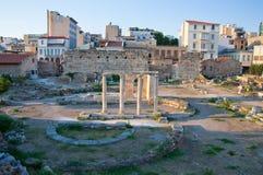 Roman Agora och tornet av vindarna. Aten Grekland. Arkivfoto