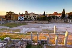 Roman Agora. Remains of the Roman Agora and Tower in Athens, Greece Royalty Free Stock Photos