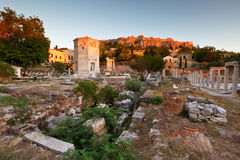 Roman Agora. Remains of the Roman Agora, Tower of Winds and Acropolis in Athens, Greece Royalty Free Stock Photos