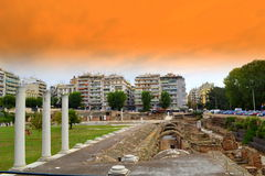 Roman Agora Thessaloniki Greece Royaltyfria Foton