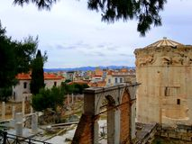 Roman Agora and Tower of Winds in Plaka district, Athens Greece royalty free stock photo