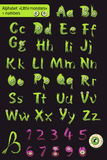 Roman alphabet with numbers. little green monsters. Royalty Free Stock Images
