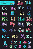 Roman alphabet with numbers. little multi-colored monsters. Stock Photography