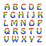 Rainbow alphabet set for children. Roman alphabet set for children with relief rainbow letters Royalty Free Illustration