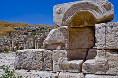 Roman Altar - Jerash. Photo of an ancient roman altar located in the city Jerash - Jordan, taken in bright sunny day, over a blue clear sky Royalty Free Stock Images