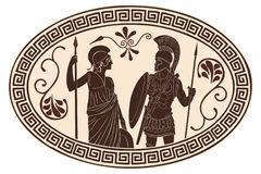 Roman and amazon. Ancient Roman warrior in armor and Amazon in a tunic and a helmet with weapons in their hands vector illustration