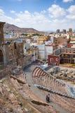 Roman amfitheater en ruïnes in de stad van Cartagena, gebied van Murcia, Spanje Stock Fotografie