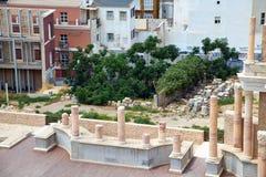 Roman amfitheater en ruïnes in de stad van Cartagena, gebied van Murcia, Spanje Royalty-vrije Stock Fotografie