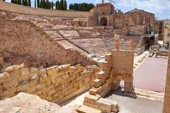 Roman amfitheater en ruïnes in de stad van Cartagena, gebied van Murcia, Spanje Royalty-vrije Stock Afbeeldingen