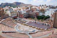 Roman amfitheater en ruïnes in de stad van Cartagena, gebied van Murcia, Spanje Stock Foto's