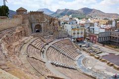Roman amfitheater en ruïnes in de stad van Cartagena, gebied van Murcia, Spanje Stock Afbeelding