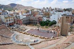 Roman amfitheater en ruïnes in de stad van Cartagena, gebied van Murcia, Spanje Royalty-vrije Stock Foto