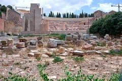 Roman amfitheater en ruïnes in de stad van Cartagena, gebied van Murcia, Spanje Royalty-vrije Stock Foto's