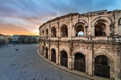 Roman Amfitheater in Nîmes, Frankrijk stock foto