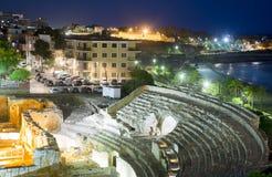 Roman amfitheater in nacht Tarragona Royalty-vrije Stock Afbeeldingen