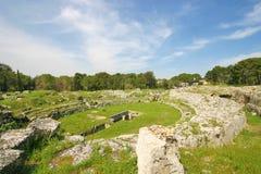 Roman amfitheatre in Syracuse Stock Images