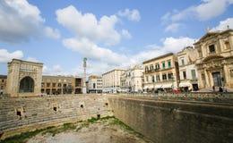 Roman Amphiteatre (2ème siècle) dans Lecce, Pouilles, Italie Photo stock