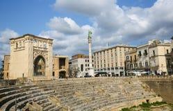 Roman Amphiteatre (2ème siècle) dans Lecce, Pouilles, Italie Photos stock