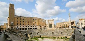 Roman Amphiteatre (2ème siècle) dans Lecce, Pouilles, Italie Image stock