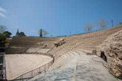 Roman amphitheater against blue sky, Tunis, Tunisia royalty free stock image