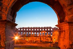 Roman Amphitheater av Pula, Kroatien. Royaltyfri Bild