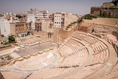 Roman amphitheater in Cartagena Spain Royalty Free Stock Photos
