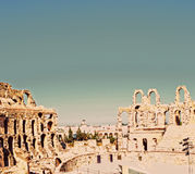 Roman amphitheater in the city of El Jem Stock Photos
