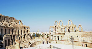 Roman amphitheater in the city of El Jem Stock Images